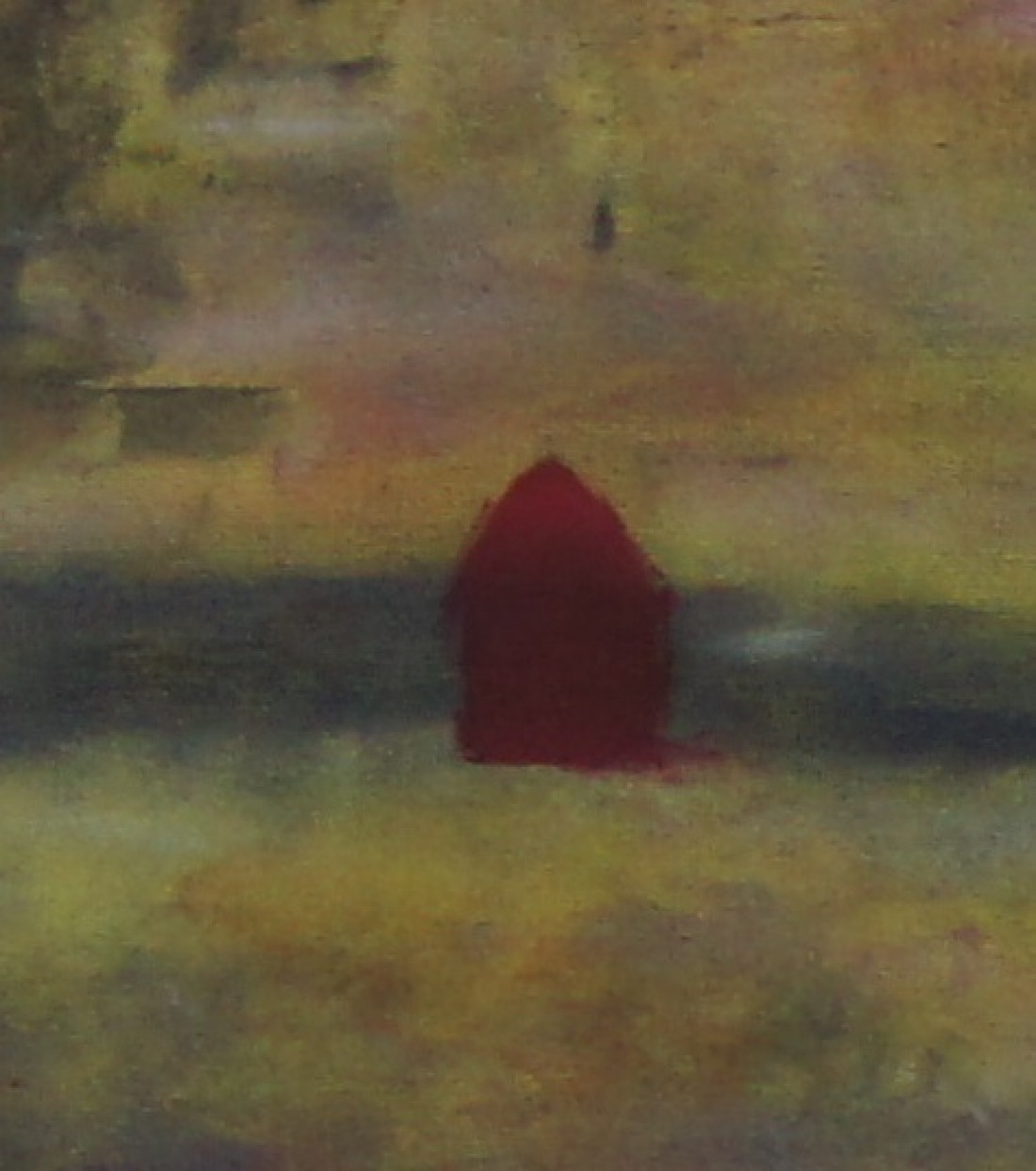 Adela Rodriguez - Lienzos - Casa roja en paisaje gris