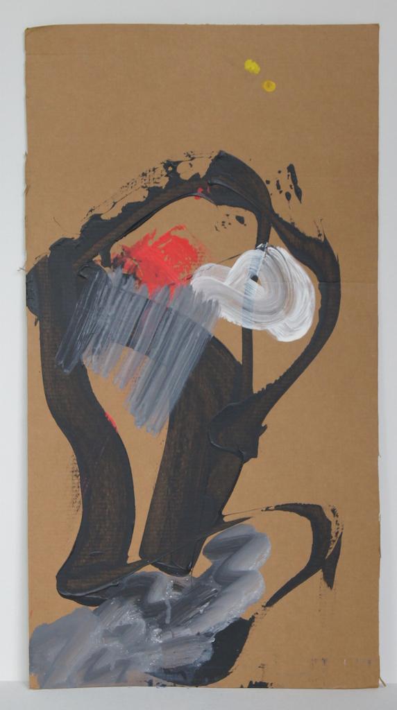 """Dándote un beso"" . 59 x 31 .Acrílico sobre cartón. Hannover 2015"