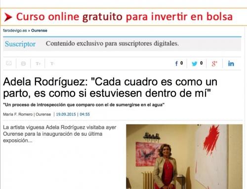 """Entrevista Faro de Vigo – exposición """"Mergullándome"""""""